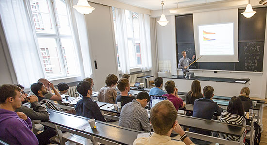 A picture from a lecture in aud. A at the Niels Bohr International Academy.